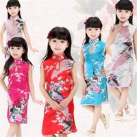 Wholesale Children Dressed Traditional Clothing - Baby Girl Dress Chinese Clothing Traditional Kids Peacock Dress Summer Children Silk China Qipao Baby Girls Clothes