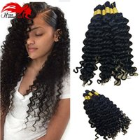 Wholesale curly indian bulk braiding hair online - Brazilian Deep Curly wave Hair bulk bundles gram Brazilian human hair for braiding bulk no attachment Brazilian braid hair in human