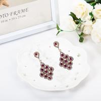 Wholesale Top Crystal Earings - 1pcs Top Quality Bordeaux Red Crystal Earrings Bridesmaids Jewellery Vintage Bridal Chandelier Wedding Dangle Earings Brinco