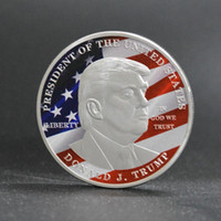 Wholesale President Plate - 10 pcs Donald Trump The President of The united state of Ameirca silver plated color souvenir USA coin badge