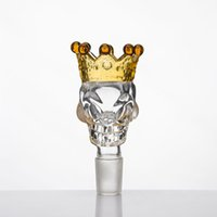 Wholesale Glass Slide Holder - BIG Size Skull Style Herb Holder With Crown Glass Bowl Glass Slide Smoke Accessory For Glass Bong