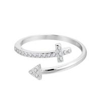cruces de plata de ley de la vendimia al por mayor-5 unids / lote Trendy Crystal CZ Arrow Cross Charms 925 joyería de plata esterlina Vintage regalo de boda para mujer hombre alta calidad