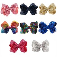 Wholesale Kids Hair Supplies - Sparkly Sequin Hair Bow 5 Inch Hair Clip Kid Girl Sequin Bows Supplies Novelty Design Hair Accessories For Toddler