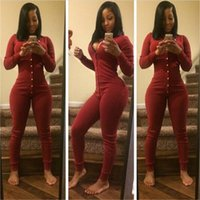 Wholesale Black Tight Jumpsuits - Wholesale- Autumn hot Sexy women jumpsuit long overalls 2016 new long sleeve rompers women's Platoon button Tight Black wine red jumpsuit
