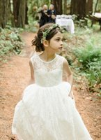 2017 Ivory Lace Beach Flower Girls Dresses For Wedding Дешевые летние платья Boho Little Girl Dresses Jewel Zipper Long Baby Kids Gowns