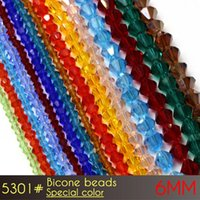 Wholesale Cross Through Beads - Wholesale czech glass beads 6mm glass chandelier beads Special colors A5301 50pcs set with through hole