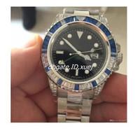 pavimentar relógios venda por atacado-Atacado AAA 116710 Luxo Mecânico Cronômetro Gmt II 40mm Relógio Pave Azul Diamante Luminescente Bezel Homens Relógios de Ouro Sapphire mens