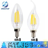 Wholesale E27 Led Bulb W - *10 Edison Filament Dimmable Led Candle Lamp 2W 4W 6W E14 E12 Led Bulbs Light High Bright 120LM W Warm White 2700K Led Lamp AC 110-240V
