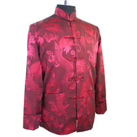 Wholesale Tai Coat - Wholesale- Burgundy Chinese Traditional Silk Satin Jacket Kung Fu Tai Chi Coat Novelty Outerwear With Dragon Size M,L,XL,XXL,XXXL MK021