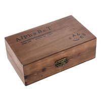 Wholesale Rubber Number Stamps - Wholesale- Pack of 70pcs Rubber Stamps Set Vintage Wooden Box Case Alphabet Letters Number Craft (No Ink Pad Included)