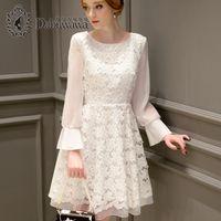 Wholesale Sleeve White Lace Dress Vintage - Dabuwawa O-Neck Sexy White Lace Dress Vintage Female Fashion Casual Chiffon Dresses Long Sleeve A-Line Dress Chiffon D16CDR042