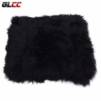 "Wholesale Sheepskin Car Cushion - 1x Genuine Sheepskin seat covers Long Wool Car Seat Covers Chair cushion 18"" x 18"" car styling accessories"