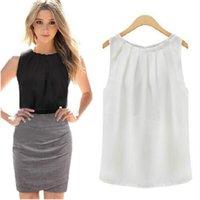 tropische bluse großhandel-Frauen-Blusen Roupas Femininas tropische reizvolle Falten-ärmelloses Chiffon- plus Größen-Damen-Blusen-beiläufige Oberseiten-Kleidung S-XL