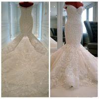 Wholesale Luxurious Crystal Mermaid Wedding - 2017 Luxurious vestido de novia Mermaid Bridal Gowns Off-Shoulder With Pretty Pearls Lace Appliques Sweep Train Long Wedding Dresses