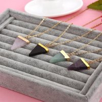Wholesale Triangle Necklace Pendant Men - Geometric Pesionality Colorful Nature Stone Necklace Triangle Crystal Necklaces Gems Stones Pendant For Women And Men Wholesale