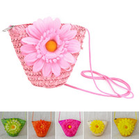 Wholesale Cute Messenger Bags For Girls - Kawaii summer girls beach bags kids messenger bags cute flower coin purses for travel sweet sunflower child girls straw bag