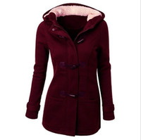 Wholesale Casual Trench Coats - Women Trench Coat 2016 Spring Autumn Women's Overcoat Female Long Hooded Coat Zipper Horn Button Outwear jackets