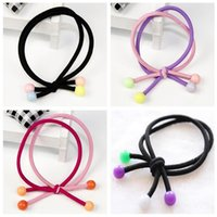 Wholesale Colored Plastic Fabric - Brand new New hair ornaments candy colored beads hair rope hair circle double line head rope FQ056 mix order 100 pieces a lot
