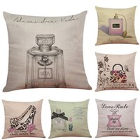 Wholesale High Heel Sofa - Perfume Bottle High Heels Linen Cushion Cover Home Office Sofa Square Pillow Case Decorative Cushion Covers Pillowcases Without Insert