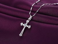 Wholesale Wholesale Crystal Cross Links - 925 Silver Crystal Cross Pendant Necklace Silver Plated Jesus Pendant Necklace for Women Ladies Jesus Pendant Necklace