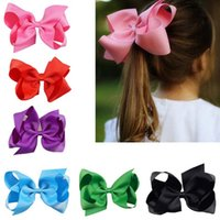 Wholesale Alligator Hair Clips Bows - Wholesaler 6 inch Hair Bow Solid Grosgrain Ribbon Boutique Baby Girls Hair Bows with Alligator Clips 32 colors