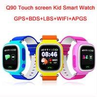 pantalla táctil gps tracker al por mayor-Al por mayor- Niño Q90 Pantalla táctil WIFI Smart baby Watch Dispositivo de localización de dispositivos GPS Tracker reloj para niños Anti Lost Monitor smartwatch