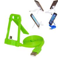 aufladung telefonständer großhandel-2-in-1-Micro-USB-Daten-Ladekabel Faltbarer Handyhalter Stand für Samsung Xiaomi LG All Andriod Smart Phone