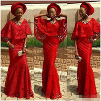 Wholesale Sexy Backless Outfit - Cheap African Red Lace Mermaid Prom Dresses With Cape 2017 Bridal Outfits Nigeria Sexy Pageant Party Dress Evening Gowns Aso Ebi Party Gowns