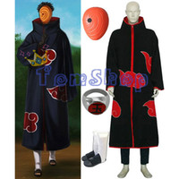 Anime Naruto Akatsuki Tobi Madara Uchiha Deluxe Edition Costume Cosplay 4 in 1 Set combo all'ingrosso (Cloak + Mask + Boots + Ring)