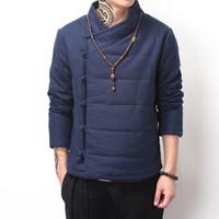Wholesale Chinese Winter Style Men - Wholesale- Chinese style vintage winter coat men wadded jacket Buddhism outerwear Oblique placket buttons parka khaki blue black color