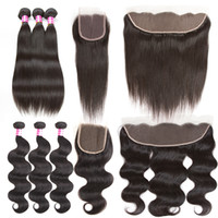 Wholesale Ombre Virgin Hair Extensions - Brazilian Virgin Hair Straight Body Wave Weft 3 Bundles With Lace Closure Or Ear To Ear Lace Frontal Human Hair Extensions Weave Bundles