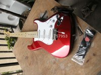 Wholesale Stratocaster Electric - Factory custom shop 2015 Newest ST Deluxe Electric Gutiars,Candy Apple Red Electric Guitar 7 6 stratocaster