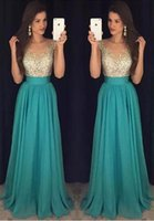 Wholesale Sparkled Top Dress - Hunter Green Gorgeous Prom Dresses 2017 Sparkling Beads Top Jewel Neck with Crystal A Line Evening Party Gowns Vestido De Soiree BA6019