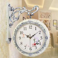 enviar relojes de época al por mayor-Al por mayor-Envío gratis 3D doble cara Vintage rústico decorativo arte de lujo Especial Relojes de pared Reloj de pared moderno Relojes caseros