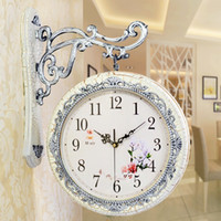 Wholesale Double Wall Clock - Wholesale- Free Shipping 3D double faced Vintage retro rustic decorative luxury art Special Wall Clocks Modern Wall Clock Home Clocks Watch