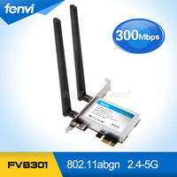 Wholesale Wifi Card Pcie - Wholesale- Fenvi PC Wifi PCI-E adapter 300M WiFi Antennas Wireless Computer Network PCIe Card 802.11a b g n 300Mbps Wi-Fi Wlan For Desktop