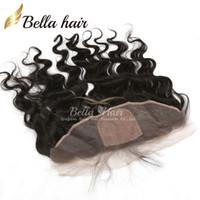 spitzen-frontalverschlüsse seidenfuß großhandel-Lace Frontal Closure Silk Base Top brasilianische Körperwelle Echthaar Extensions 4 * 13 natürliche Farbe Ohr zu Ohr Haarteile versandkostenfrei