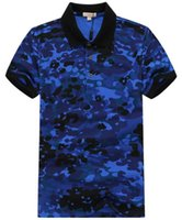 Wholesale Men S Business Leisure Shirts - Summer cotton top grade business men polo shirts Male lapel leisure camouflage polo shirts Army dazzle Polos Red Blue
