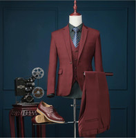 Опт- (куртка + брюки + жилет) 2017 Brand Fashion Wine Red Men Suits Blazer Slim Grid Prom Groom Свадебное платье Singer Stage Clothing