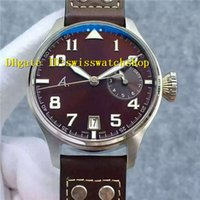 Marque de luxe ZF Factory Big Pilot Brown Dial cal.51111 Automatique Sport Sport Limited Editon Mens Watch chiffres arabes Bracelet en cuir