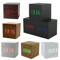 Wholesale Led Cube Tables - Cube Wooden LED Alarm Clock LED Display Electronic Desktop Digital Table Clocks Wooden Digital Alarm Clock USB AAA Voice Control Horloge