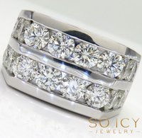 Wholesale Mens Red Diamond Rings - 6.20ct Mens 14k White Gold Round SI2 Big Diamond Band Ring