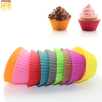 Wholesale Muffin Mixes Wholesale - 7Cm Silicone Cake Molds Cake Mould Small Cakes Birthday Cakes Topper Round Shape Silicone Muffin Cups Mixed Color Wholesale