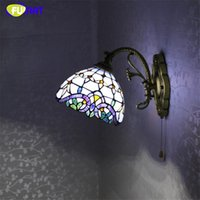 Wholesale Living Room Baroque Style - FUMAT Stained Glass Wall Lamp European Style Baroque Purple Light For Living Room Wall Mirror Corridor Bedside LED Wall Lights