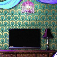 Vente en gros - Modern Luxury KTV Hotel TV Canapé Fond Maison Papier mural 3D Gold Foil Peacock Feather Fireproof Moisture-Proof Wallpaper Mural