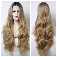 Wholesale Long Layered Wig - Natural Hairline Long Wave Bouncy Layered Ombre #27 Blonde Short Black Roots Body Wave Heat Resistant Synthetic Hair Lace Front Wigs