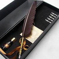 Wholesale calligraphy pens - Wholesale- European Style Retro Quill Feather Dip Calligraphy Pen Set Graduation Gift