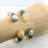 5Pcs Pave Rhinestone Crystal Quartz Stone Pearl Leather Cuff Bangles Bracelet Jewelry Finding
