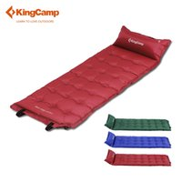 Wholesale Automatic Inflating Mattress - Wholesale-KingCamp Comfort Self-Inflating Camping Mat with Attached Pillow for Hiking Backpacking Sleeping Mats Mattress Green Red Blue