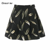 Wholesale Natural Waist Ball Gowns - European American Style Feather Printing Pleated Women Skirt Female Elegant Natural Waist Mini Ball Gown Skirts YN258